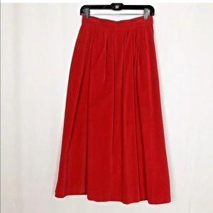 Vintage Red Velvet High Waist Maxi Skirt